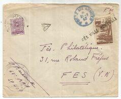 MAROC 1FR ANNULATION FES VILLE NOUVELLE LETTRE FM POSTE AUX ARMEES 21.3.1943 + TAXE 2FR - Morocco (1891-1956)