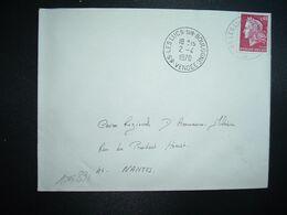 LETTRE TP M. DE CHEFFER 0,40 OBL.2-4 1970 85 LES LUCS SUR BOULOGNE VENDEE - Cachets Manuels