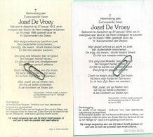 Jozef De Vroey : Aarschot 1912 - Leuven 1999  (  See Scans )  2 Items - Devotieprenten