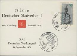 Erinnerungskarte Deutscher Skatverband & Skatkongreß, SSt Bad Oeynhausen 14.9.74 - [7] République Fédérale