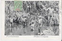 NOUVELLE CALEDONIE. CPA  Voyagée En 1905 Pêche à La Sagaie - New Caledonia