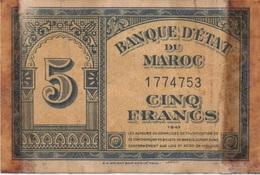 Maroc Morocco : 5 Francs 01-08-1943 (très Mauvais état) - Marruecos