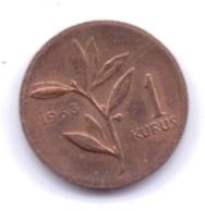 TURKEY 1968: 1 Kurus, KM 895a - Turquie