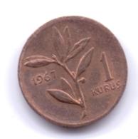 TURKEY 1967: 1 Kurus, KM 895a - Turquie