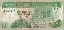 Maurice Mauritius : 10 Rupees (état : Moyen) - Mauritius