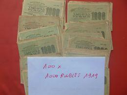 RUSSIE 1919 LOT DE 100 BILLETS De 1000 ROUBLES CIRCULER - Lots & Kiloware - Banknotes