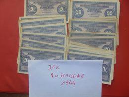 AUTRICHE 1944 ZONE ALLIEE LOT 31 BILLETS 20 SCHILLING CIRCULER - Lots & Kiloware - Banknotes