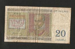 BELGIE / BELGIQUE - TRESORERIE - 20 FRANCS (1950) ROYAUME De BELGIQUE - [ 6] Treasury