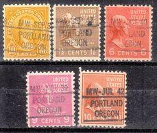 USA Precancel Vorausentwertung Preo, Locals Oregon, Portland L-6 IHS, 5 Diff. - Estados Unidos