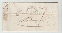 HERAULT: BEDARIEUX , CàD 12  + TM 7 / LAC De 1833 Pour Bordeaux - Marcophilie (Lettres)