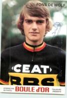 Fons DE WOLF , Autographe Manuscrit, Dédicace . 2 Scans. Cyclisme. Ceat BBS Boule D'Or - Cycling