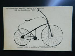 CONSERVATOIRE NATIONAL DES ARTS ET METIERS  PARIS            BICYCLETTE MYERS ET Cie D'APRES L'HORLOGER GULMET EN 1868 - Cycling