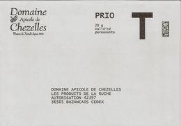 Lettre T Domaine Apicole De Chezelles, Prio Validité Permanente 20g - Enteros Postales