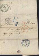 Pour Cuba CAD Paris (J) 30 MARS 1855 (60) PD Rouge CAD Anglais B Paid 31 MR 55 + NE Et 2 En Bleu Verso Habana - 1849-1876: Classic Period