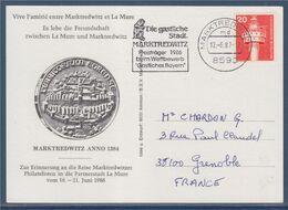 Carte Oblitérée 1 Timbre Allemagne Vive L'amitié Entre Marktredwitz 12.6.87 Et La Mure - Covers & Documents