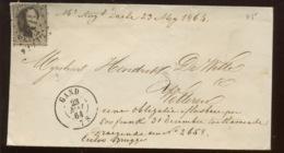 10c Sur Lettre.  GAND. 23 MAI 1864 Petite Enveloppe - 1863-1864 Medallones (13/16)