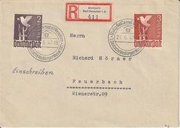 Allemagne Zone AAS Lettre Recommandée Stuttgart-Bad Cannstatt 1947 - Gemeinschaftsausgaben