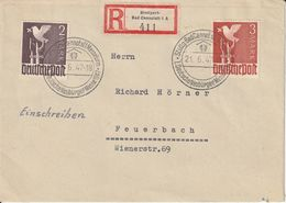 Allemagne Zone AAS Lettre Recommandée Stuttgart-Bad Cannstatt 1947 - Amerikaanse, Britse-en Russische Zone