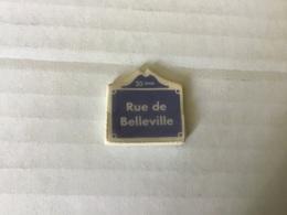 Fève Plate MH Moulin à Huile / PLAQUES DE RUE Rue De Belleville  PARIS 20eme - Regionen