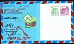 BRD FGR RFA - Privatfaltbrief 50 Jahre Ägyptenfahrt LZ 127 (PF 032 D2/001a) 1991 - Siehe Scan - Private Covers - Used