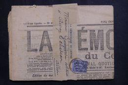 FRANCE - Type Sage 1ct Sur Bande Journal Avec Journal En 1886 Pour Ainay Le Château - L 65242 - Poststempel (Briefe)
