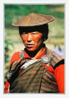 Bhoutan  Portrait Femme Des Montagnes Agrafe Argent Turquoise   Années   80s - Bhutan