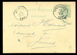 POSTKAART Uit 1887 Gelopen Van BELGIE THUILLIES Naar JUMET    (11.815o) - 1869-1888 Liggende Leeuw