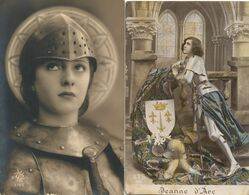 Jeanne Arc . 2 Cartes . - Mujeres Famosas