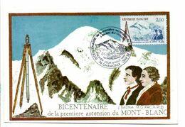 CARTE MAXIMUM 1983 BICENTENAIRE 1 ERE ASCENSION DU MONT BLANC - 1980-89
