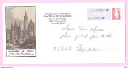 """PAP BRIAT - N° 2806-E4. Enveloppe Pré-affranchie """" REPIQUEE """"- Cathédrale De SENLIS. TVP Rouge Sans Barre PHO Latérale. - PAP : Altri (1995-...)"""