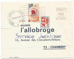 BLASON 5C AUCH+45C + EMA 050 C 4333 LETTRE PARIS 24.5.1972 - 1941-66 Armoiries Et Blasons