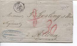 REF1477/ Précurseur LAC C.Aniche 21/3/1860 Port 8 Barré Puis 30 > Altona Danemark Verso Divers Cachets - 1849-1876: Periodo Classico