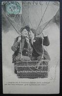 1905 Convoyeur Montivilliers Au Havre Sur Carte Fantaisie Promenade D'amoureux En Ballon - Posta Ferroviaria