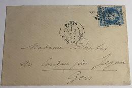 Lettre Affranchie à 20c En étoile De Paris N°18 Sur N°29a - 1849-1876: Période Classique