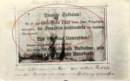 Franse Brief Dat Werd Gedropt In De Duitse Stellingen. De Oorlog. Oostende - Ostende (1914-18) War - Guerre - Oostende
