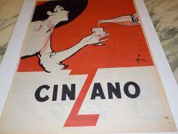 ANCIENNE PUBLICITE CINZANO 1954 - Alcools