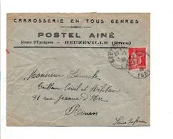 LETTRE A EN TETE DE BEUZEVILLE EURE 1933 - Marcofilie (Brieven)