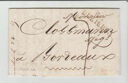 HERAULT: BEZIERS, Linéaire 33 X 11 M/m + TM 7 / LAC De 1825 Pour Bordeaux - Marcophilie (Lettres)
