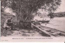 78 Montesson (S. Et O.) Les Bords De La Seine Près De L'école Th. Roussel. Avec Pêcheur(s) Litron De Rouge Chevre Goat - Montesson