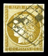 N°1b, 10c Bistre-verdâtre Obl Grille. TB (signé Calves/Brun/certificat)  Qualité: O  Cote: 500 Euros - 1849-1850 Ceres