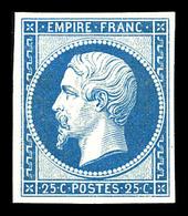 N°15c, 25c Bleu, Impression De 1862, Quatre Belles Marges. TTB (certificat)  Qualité: *  Cote: 600 Euros - 1853-1860 Napoléon III