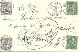 Limonest (Rhone) Lettre Recommandée 22 Février 1899. Retour à L'envoyeur De Lyon - 1877-1920: Periodo Semi Moderno