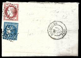 20c Bordeaux T II Et 80c Lauré Obl GC 2240 Et Càd De MARSEILLE Du 3 Janvier 1871 Sur Lettre Manuscrite. Affranchissement - Marcophilie (Lettres)