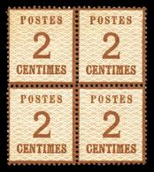 N°2, 2c Brun-rouge, Bloc De 4 (2ex*) , Frais, SUP (certificats  Qualité: ** - Alsace-Lorraine