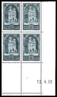 N°259, Cathédrale De Reims Type I, Bd4 Coin De Feuille Daté Du 12.4.30. TB  Qualité: **  Cote: 675 Euros - Coins Datés