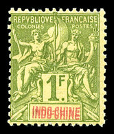 N°15a, 1F Olive: Double Légende INDO-CHINE, R.R. SUP (certificat)  Qualité: *  Cote: 1300 Euros - Neufs