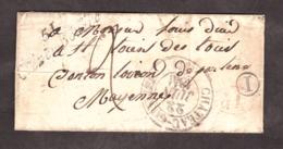 """LSC - 22/6/1841 - Boîte Rurale I - Cursive """"51 Grez-en-Bouëre"""" - T13 Château-Gontier > Loiron - Port Dû 2 Déc+déc Rural - 1801-1848: Précurseurs XIX"""