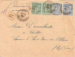 Lettre Recommandée De Lyon Les Terreaux Affranchissement à 40 Centimes. - 1877-1920: Periodo Semi Moderno