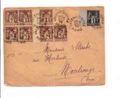 AFFRANCHISSEMENT COMPOSE SUR DEVANT DE LETTRE DE VALENCIENNES 1899 - 1877-1920: Période Semi Moderne