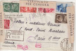 """ITALIE : GUERRE . REC . DE """" FLORENCE """" . DOUBLE CENSURES . POUR LA FRANCE . 1941 . - Vari"""